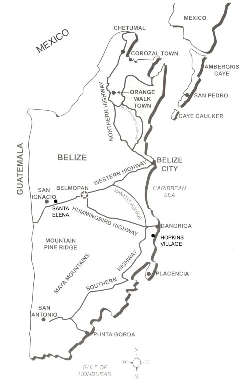 Main Towns and Roads of Belize