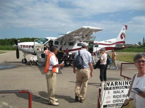 Boarding the plane for Dangriga