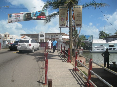 Famous lift bridge over Haulover Creek and Belize Harbour