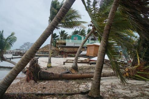 Damage on the coast of the Caribbean