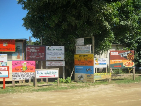 Hopkins Village on the Caribbean coast. Check out the signage and make your pick