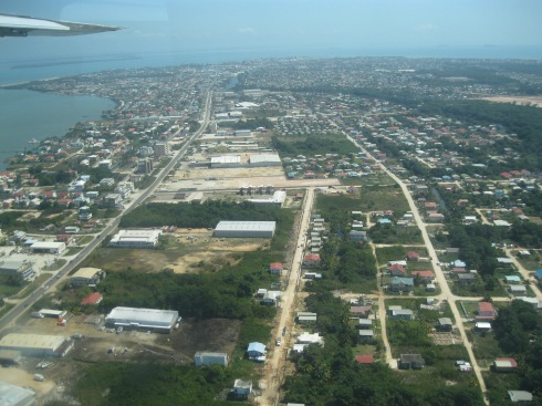 Belize City, coming in for a landing