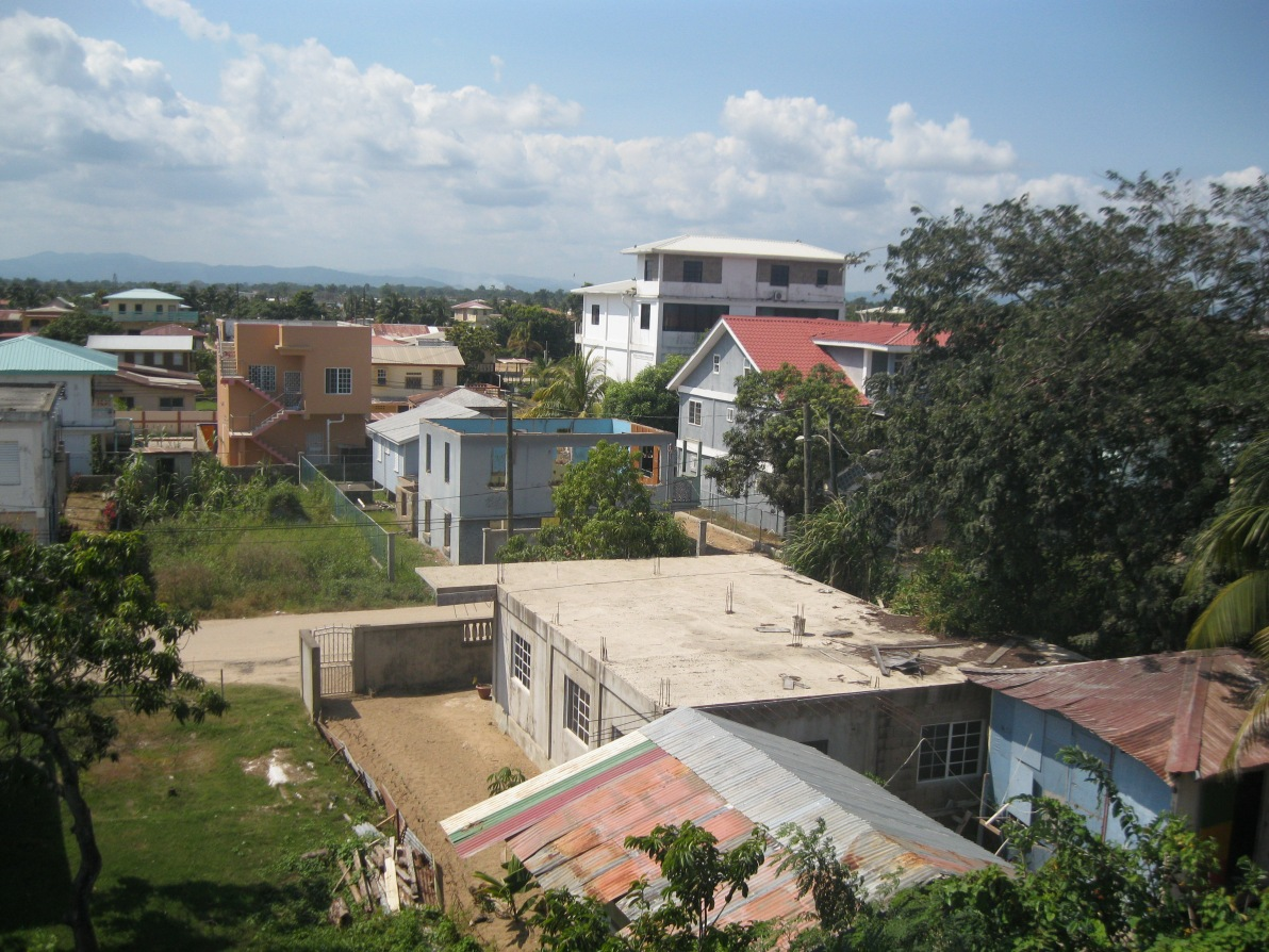 Backyard view of houses in Dangriga Town